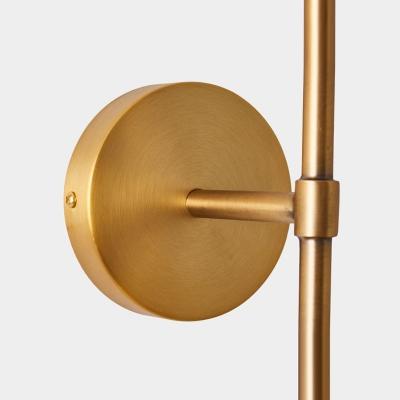 Minimalist 2-Head Brass Armed Wall Sconce Double Milky Glass Wall Mount Ball Lamp