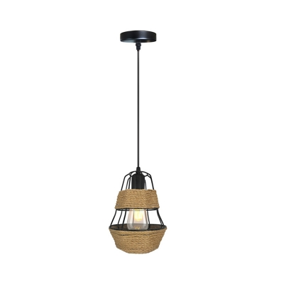 Country Style Caged Ceiling Hanging Light Metal and Rope 1 Light Dining Room Suspension Lamp in Black