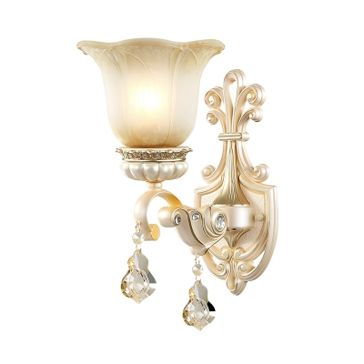 Floral Shaped Beige Glass Wall Mount Light Vintage 1/2 Lights Wall Sconce Light with Crystal Drop