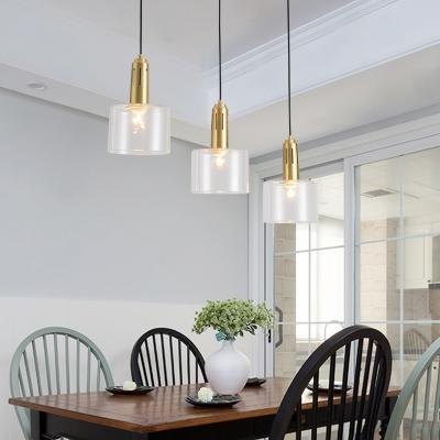 Modern Cylinder Hanging Light Clear Glass 1 Head Dining Room Pendant Light Fixture