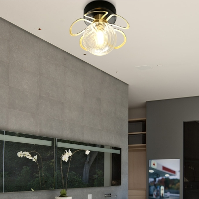 Petal Swirl Glass Semi Flush Light Fixture Nordic 1/3 Heads Black/Gold Ceiling Light for Corridor