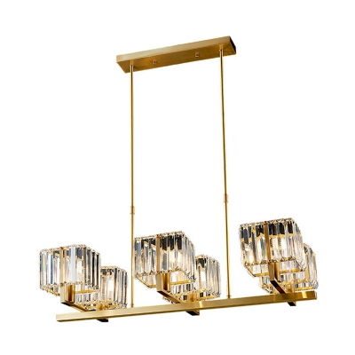 Rectangle-Cut Crystal Square Hanging Light Postmodern 6 Heads Gold Chandelier Lighting
