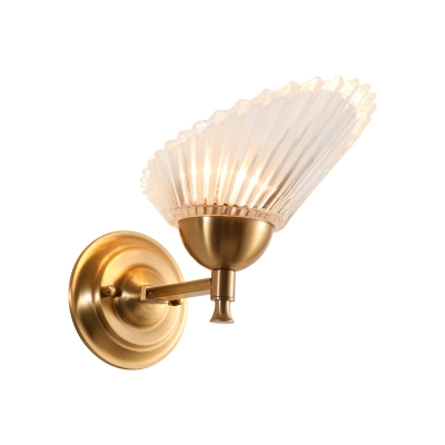 Shell-Shape Wall Mounted Lamp Modernist Frosted Glass 1 Light Bedside Wall Sconce in Gold Finish