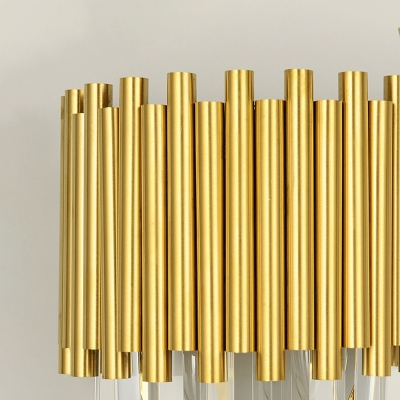 Tapered Wall Mounted Lamp Modern 2 Lights Triangular Crystal Prism Wall Lamp in Gold for Living Room