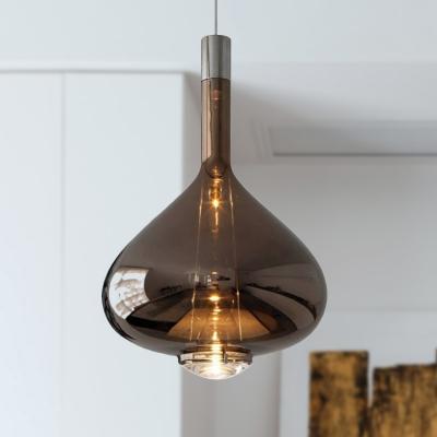 Teardrop Dining Room Hanging Ceiling Light Modern Rose Gold/Clear/Gray Glass 1 Light Pendant Lamp