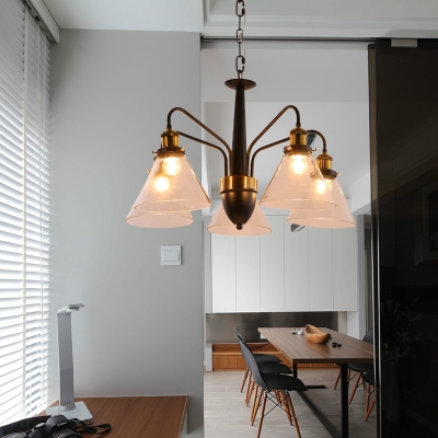 Traditional Conical Chandelier Light 3/5/6-Light Clear Glass Hanging Pendant in Black and Gold
