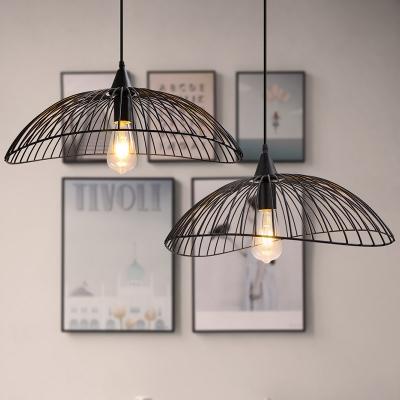 Waveforms Hanging Ceiling Light Industrial Style Metal 1 Light Black Pendant Lighting with Wire Frame, / Width, HL566125