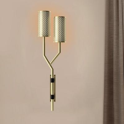 2 Heads Metal Sconce Light Colonialist Black/White Tube Indoor Flush Mount Wall Light