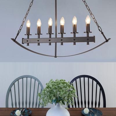 Black Candle Island Lamp Vintage Metal 6 Lights Dining Room Suspension Light