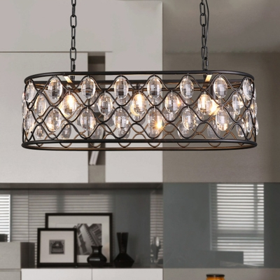 Black Oval Island Lighting Antique Style Crystal Drip 3 Heads Dining Room Hanging Light Fixture