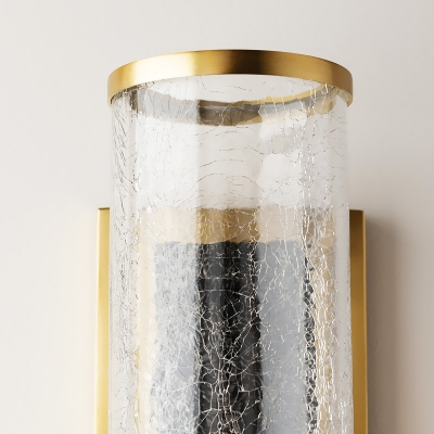 Brass Tube Wall Mounted Lamp Rustic Metal 1 Light Dining Room Sconce Light Fixture with Clear Crackle Glass Shade