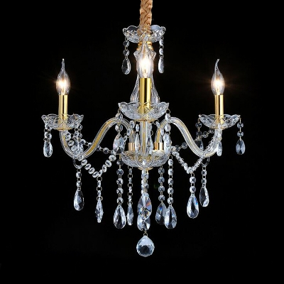 Candle Chandelier Light French Style Crystal 3 Lights Gold Ceiling Pendant Fixture