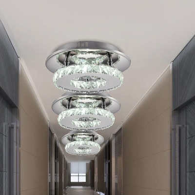 Circular Semi Flush Light Luxury Clear/Amber Crystal LED Indoor Ceiling Light Fixture in Neutral/Warm/White/3 Color