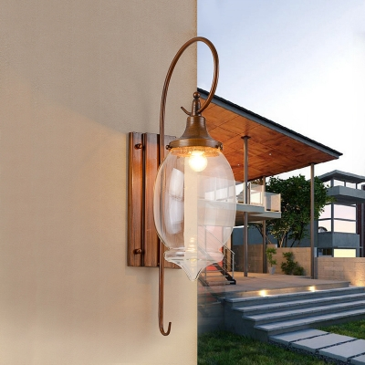 Clear Glass Bottle Sconce Light Fixture Rustic 1 Light Dining Room Wall Mounted Lamp in Brown