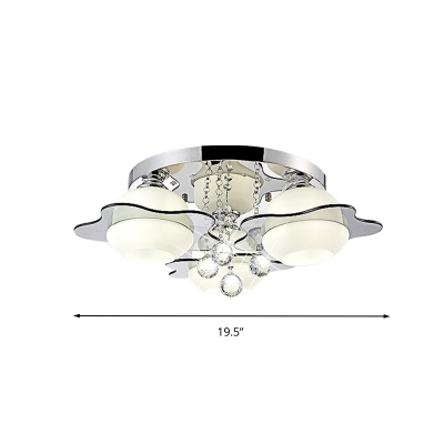 Contemporary Floral Ceiling Light Faceted Crystal Ball 3/5/7 Heads Bedroom Flush Light with Gray Glass Shade in Warm/White Light