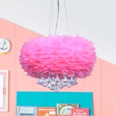 Dome Pendant Light Fixture Contemporary Feather 3 Lights Pink Chandelier Lamp with Crystal Draping