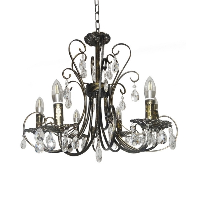French Style Curved Iron Candle Chandelier 6 Lights Bronze Ceiling Lighting with Crystal Drops