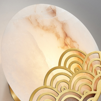 Gold Circular Flush Mount Colonial Marble 1 Bulb Bedroom Wall Sconce Light, 8