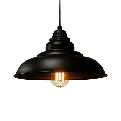 Industrial Style Saucer Hanging Ceiling Light Iron 1 Head Dining Room Pendant Lighting in Black
