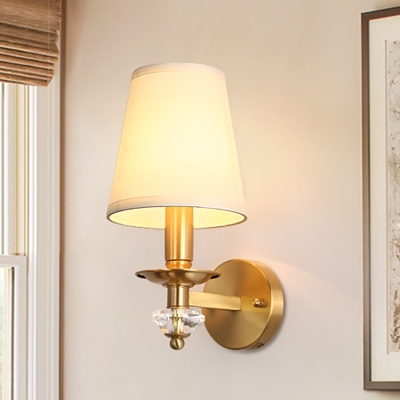 Living Room Wall Lamp with Fabric Cone Shade Modern 1 Light Wall Lighting in Brass, HL566005