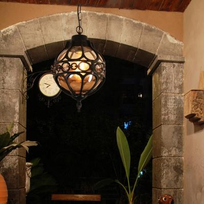 Loft Sphere Ceiling Pendant Light Amber Closed Glass 1 Light / W Outdoor Hanging Light for Balcony in Black/Bronze, Black;antique bronze, HL564419