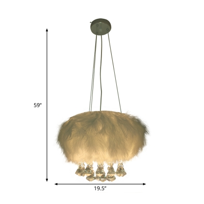 Round Dining Room Chandelier Fluff 3-Light Simple Hanging Ceiling Light in White