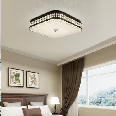 Square Ceiling Mounted Fixture Modern Faceted Crystal Black LED Flush Light for Living Room