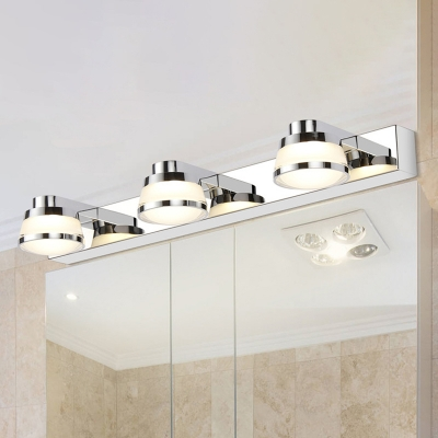 Фото #1: 3 Lights Bathroom Vanity Mirror Light Contemporary Chrome Finish Wall Lamp with Tapered Acrylic Shad