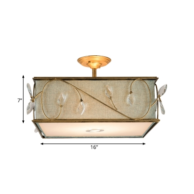 3 Lights Semi Flush Mount Lamp Rustic Cuboid Flaxen Fabric Ceiling Mounted Light
