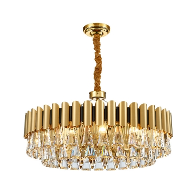 8/12-Light Living Room Chandelier Lamp Simple Gold Hanging Lamp Kit with Conical Crystal Shade
