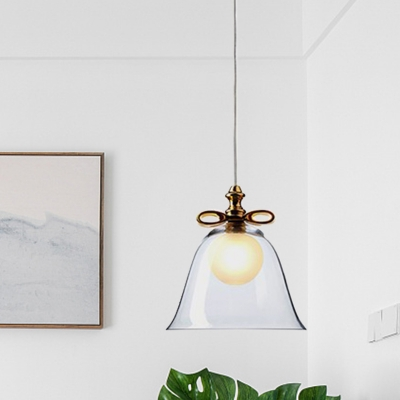 Bell Dining Room Pendant Lamp White/Brown/Clear Glass 1 Head Modernism Hanging Light Fixture