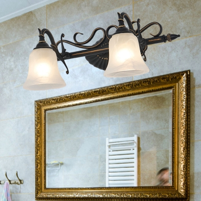 Bell Frosted Glass Sconce Light Traditional 2 3 Lights Bathroom Vanity Lighting Fixture In Bronze Beautifulhalo Com