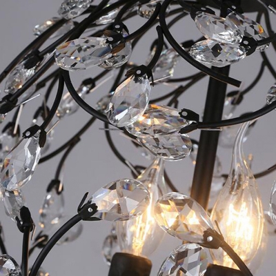 Black/Bronze Floral Hanging Pendant Light Traditional 3-Light Iron Suspension Lamp with Crystal Accent