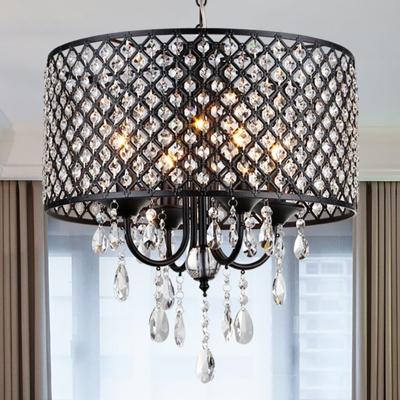 Black/Chrome Drum Chandelier Lamp with Crystal Drop 4 Lights Iron Hanging Pendant Light HL563808 фото