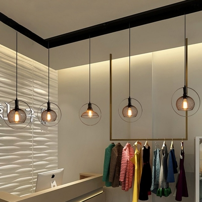 Black Metal Wire Hanging Light Industrial 1 Bulbs Indoor Suspension Light for Dining Table