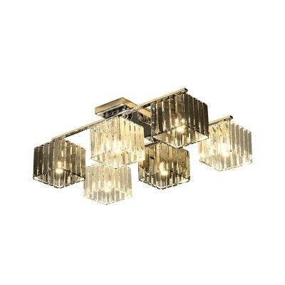 Crystal Cube Flush Ceiling Lamp Modern 4/6/9 Lights Modern Indoor Flush Light in Polished Chrome
