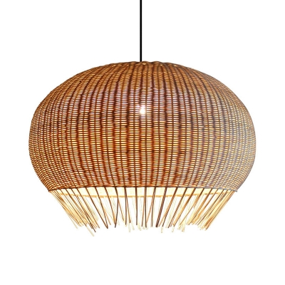 Handmade Globe Hanging Ceiling Light Asian Style Height Adjustable 1 Light Indoor Rattan Pendant Lamp in Wood