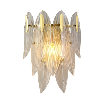 Leaf Ribbed Crystal Sconce Light Fixture Simple Style 2 Lights Gold Flush Mount Wall Sconce