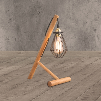 Mini Caged Table Lamp Industrial Stylish Metallic and Wood 1 Bulb Living Room Table Lighting in Beige