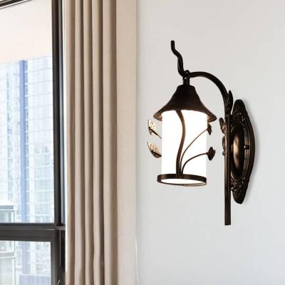 Rustic Flower/Leaf/Metal Frame Sconce Light 1 Bulb Opal Glass Wall Mounted Lighting in Black for Corridor