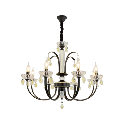 Satin Black Candle Pendant Lighting Height Adjustable 6/8/10 Lights Vintage Metal Chandelier for Living Room