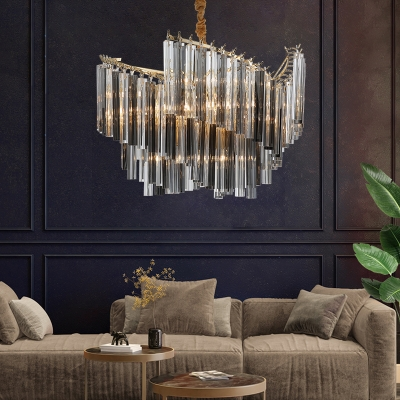 Spiral Hanging Light Kit Modern Smoke Gray Three Side Crystal Rod 5/10 Heads Living Room Chandelier Lamp