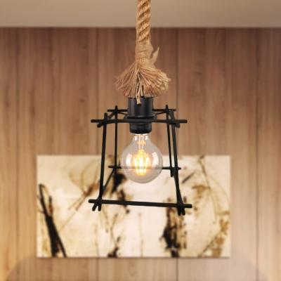Squared Frame Hanging Ceiling Light Loft Style Metal 1 Light Black Pendant Lamp with Adjustable Rope