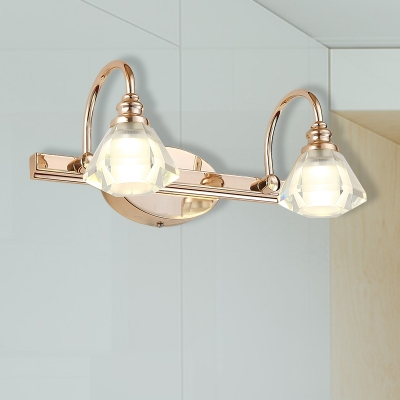 2/3/4 Heads Bathroom Vanity Light Fixture Modern Golden Wall Sconce with Conical Frosted Crystal Shade, / W, HL571927