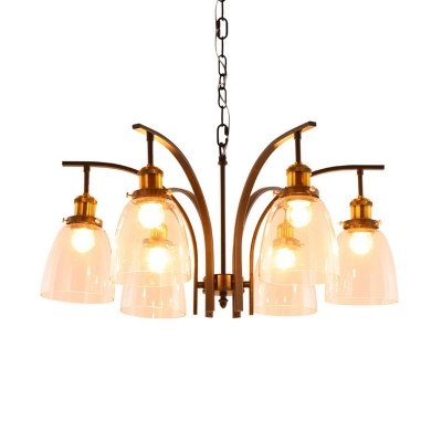3/5/6-Light Chandelier Pendant Vintage Cup Shape Clear Glass Ceiling Lamp with Curved Arm