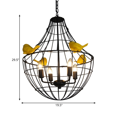 4 Lights Ceiling Pendant Vintage Candle Metal Chandelier Lighting in Black for Restaurant with Cage
