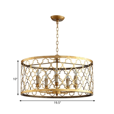 5 Lights Living Room Suspension Lamp Traditional Gold Chandelier Lighting with Drum Metal