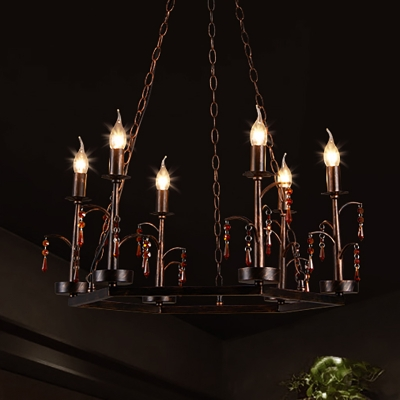 Adjustable Candle Pendant Lamp Country Style 6 Lights Chandelier Lighting in Rust for Dining Room