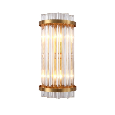 Cylinder Three Side Crystal Rod Wall Lamp Postmodern 2 Heads Black/Gold Sconce Light Fixture