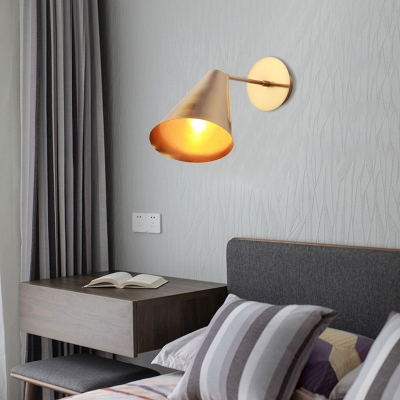 Gold Finish 1 Light Wall Light Simplicity Iron Beveled Conical Wall Lighting Ideas